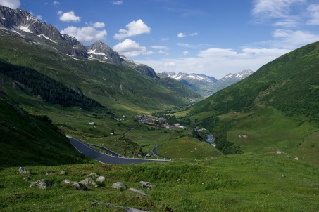 Furka Pass, pohled na Realp
